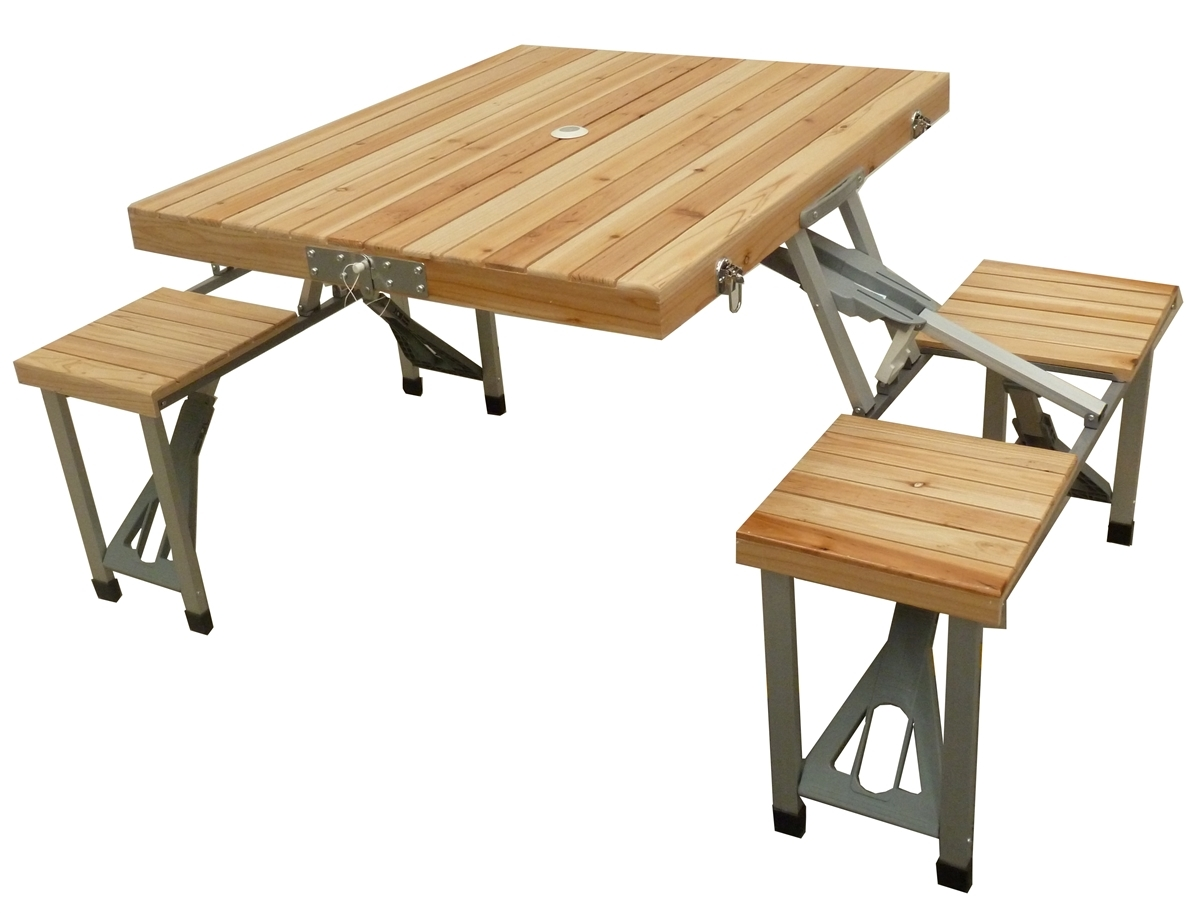 Mannagum Folding Picnic Table Set With Wooden Table Amp Seats