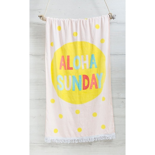 Bambury Fringed Printed Beach Towel (80 x 160cm) - Aloha