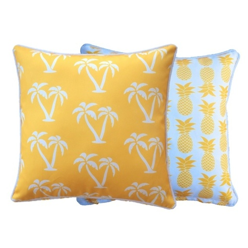 Outdoor Cushion Reversible 60x60cm - Palm Trees & Pineapples (Yellow)