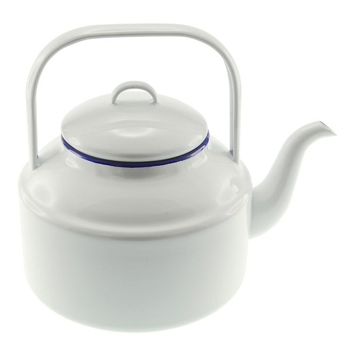 Falcon Enamel Tea Kettle 2L - White with Blue Rim