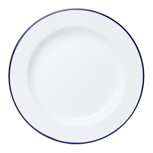 Falcon Enamel Dinner Plate 26cm - White with Blue Rim