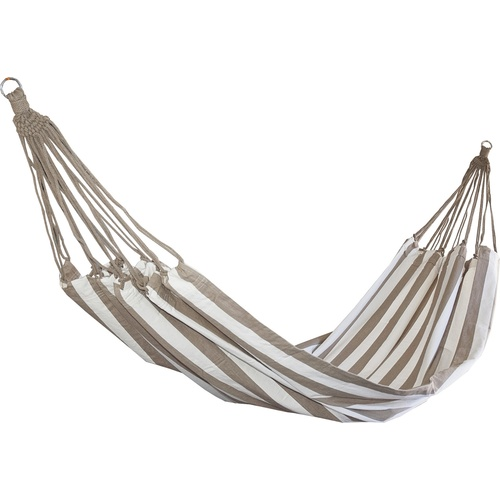 Designer Striped Cotton Hammock - Taupe & White (Ohara)