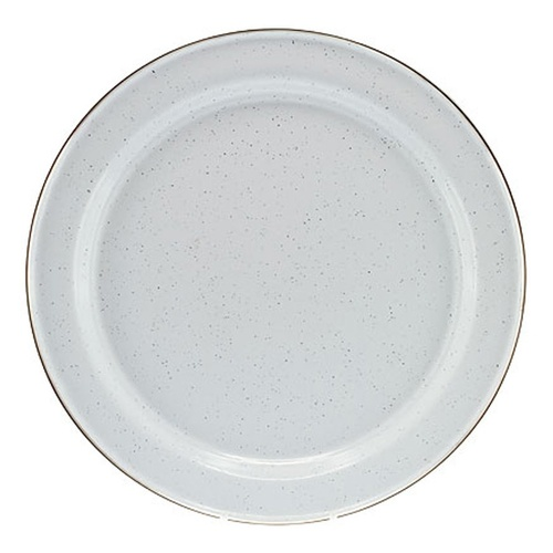 Falcon Enamel Dinner Plate 26cm - White with Black Speckle & Stainless Steel Rim