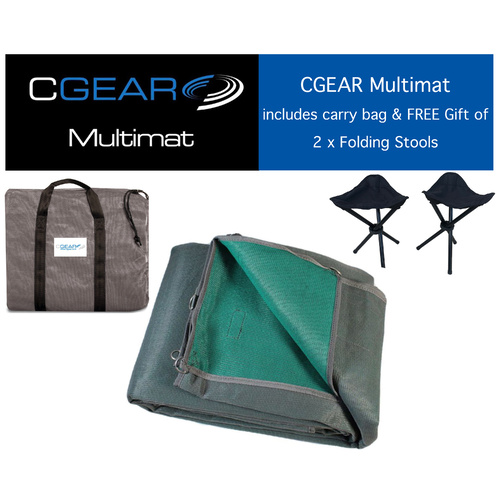 CGEAR Multimat - 3.6 x 4.6M (12 x 15FT) - Green/Grey - With Bonus FREE Gift - 2 x folding stools
