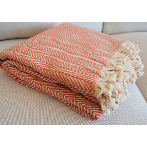 Luxurious Turkish Cotton Throw Rug / Travel Blanket - Orange