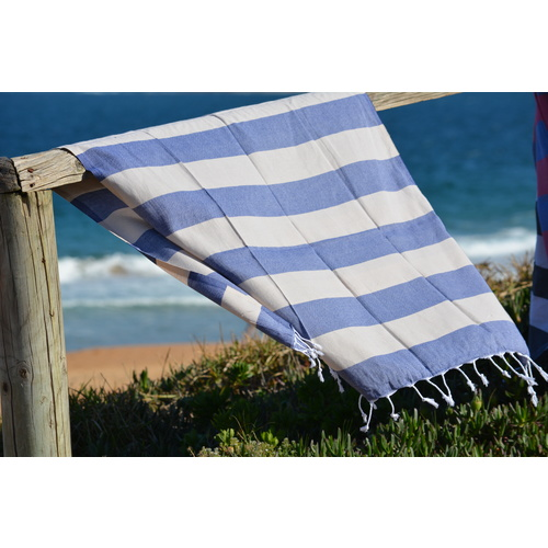 Compact Lifestyle Beach Daze Turkish Towel – Navy/Taupe
