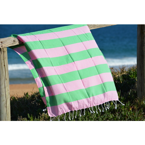 Compact Lifestyle Beach Daze Turkish Towel – Pink/Green