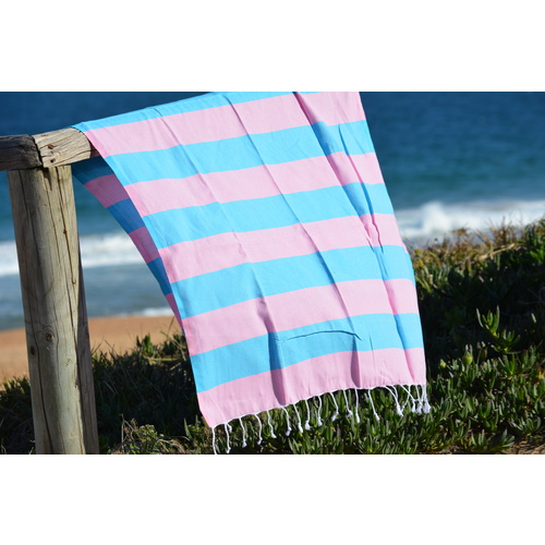 Compact Lifestyle Beach Daze Turkish Towel – Pink/Light Blue
