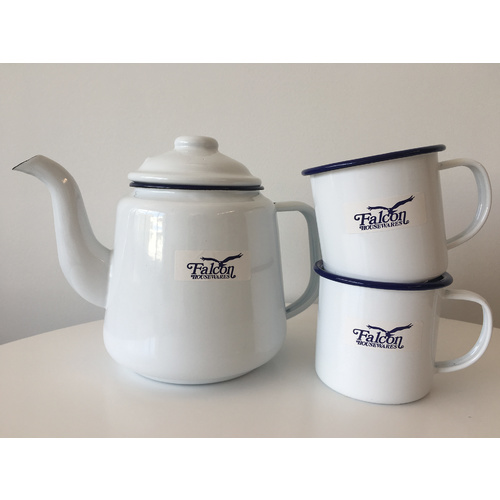 Falcon Enamel 1.5L Kettle with 2 x 350ml Mugs